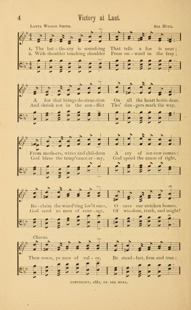 Temperance Rallying Songs: consisting of a large variety of solos, quartettes, and choruses, suited to every phase of the great temperance reformation page 4