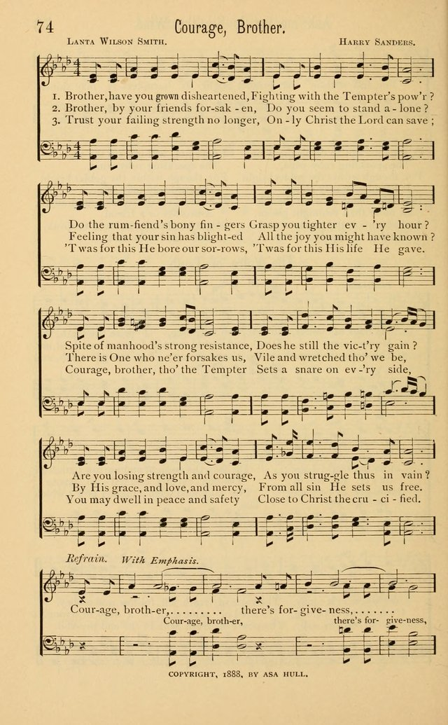 Temperance Rallying Songs: consisting of a large variety of solos, quartettes, and choruses, suited to every phase of the great temperance reformation page 74