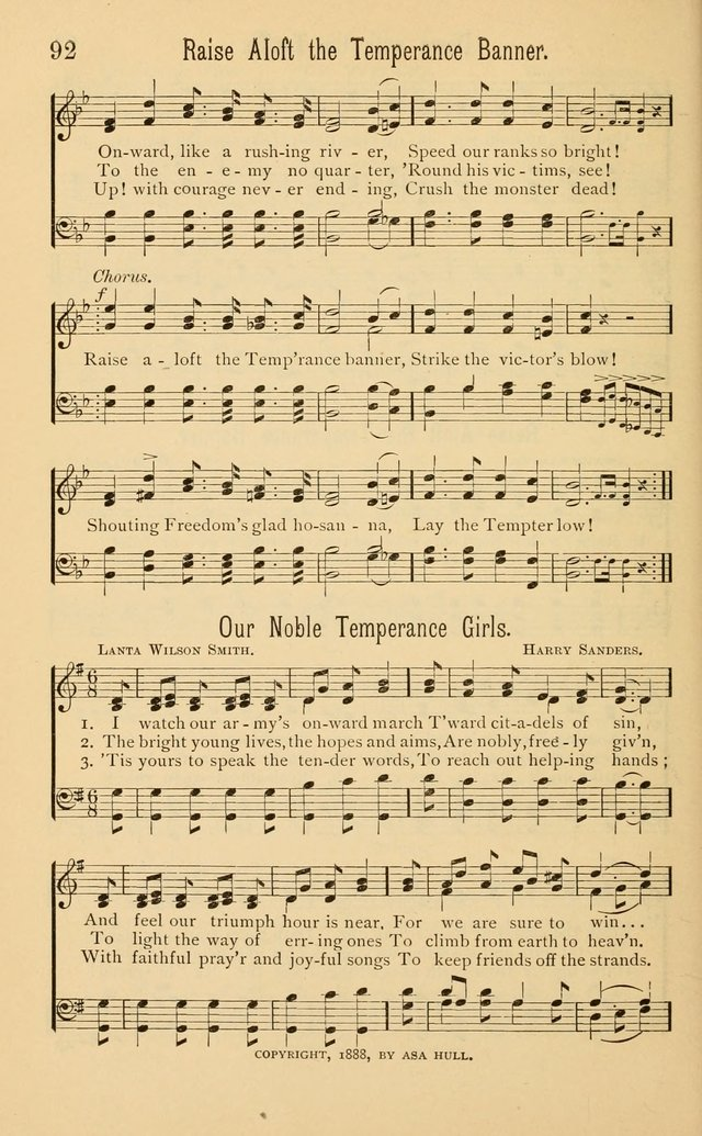 Temperance Rallying Songs: consisting of a large variety of solos, quartettes, and choruses, suited to every phase of the great temperance reformation page 92