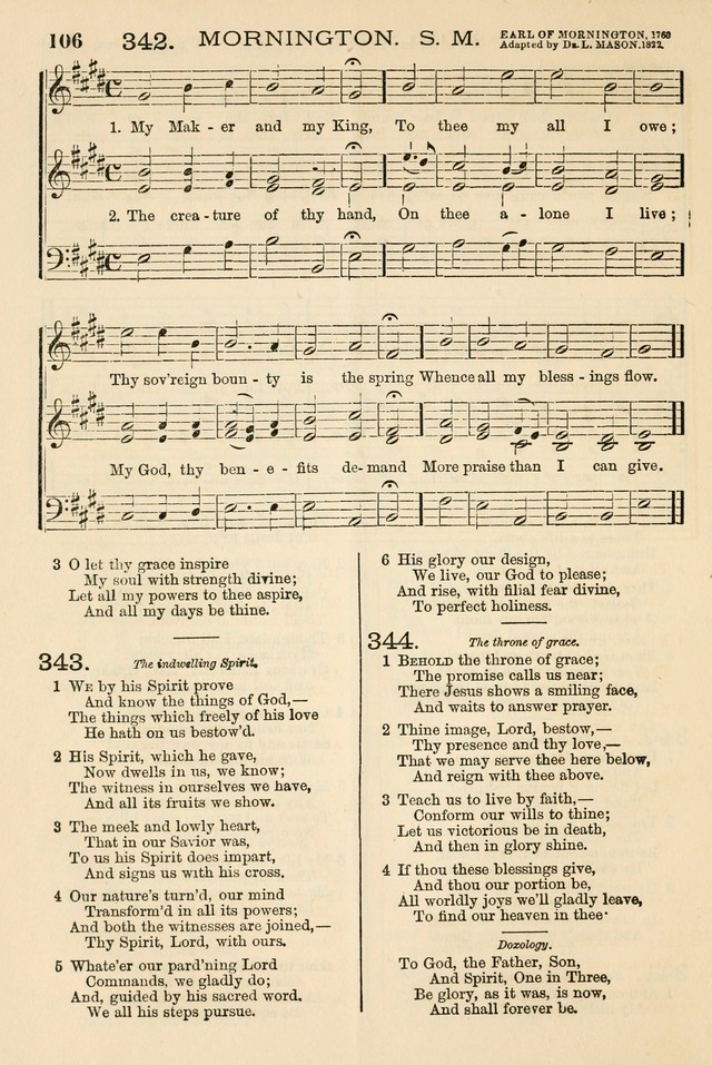 The Tribute of Praise: a collection of hymns and tunes for public and social worship, and for the use in the family circle and Sabbath school page 106