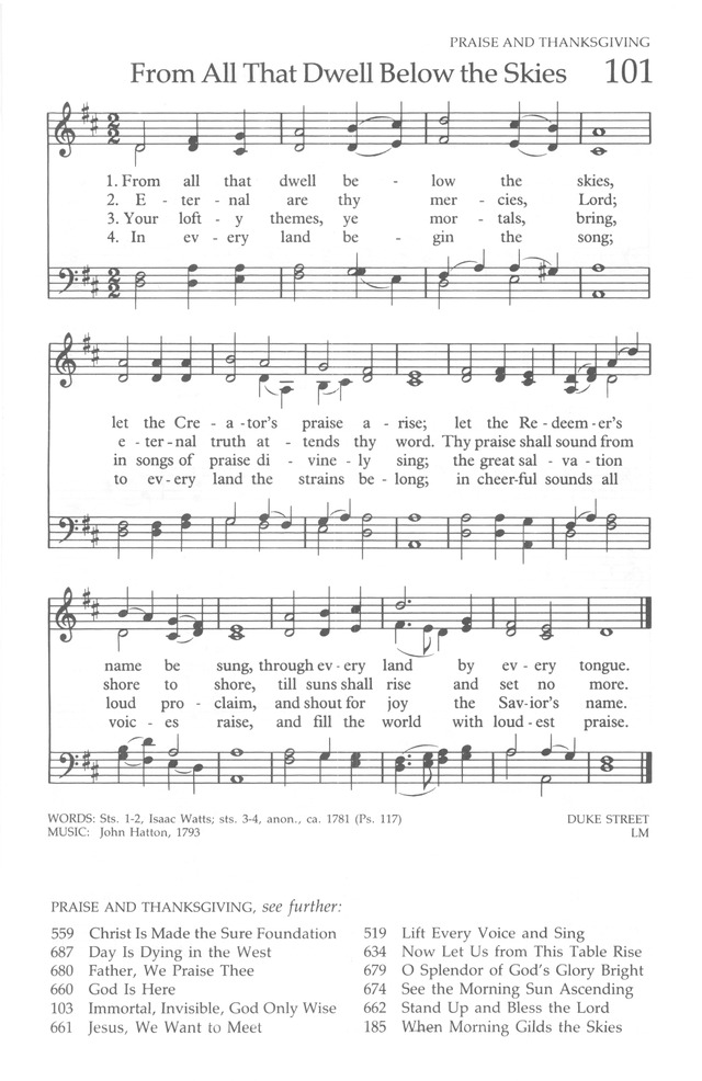 The United Methodist Hymnal page 101