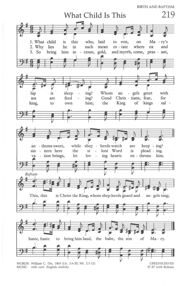 The United Methodist Hymnal 219 What Child Is This Who Laid To