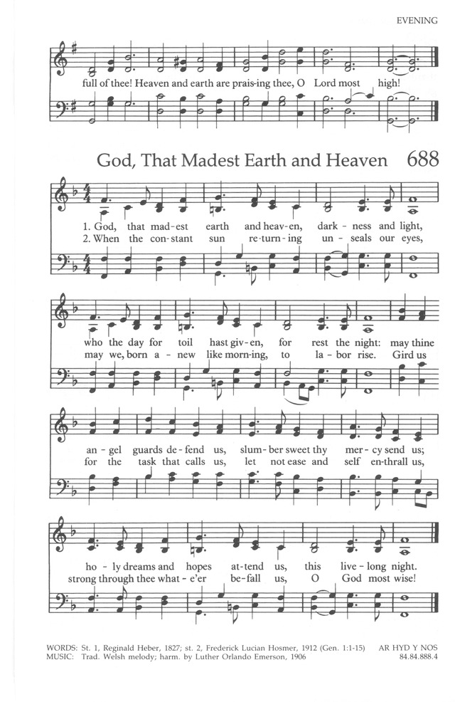 The United Methodist Hymnal 688 God That Madest Earth And Heaven
