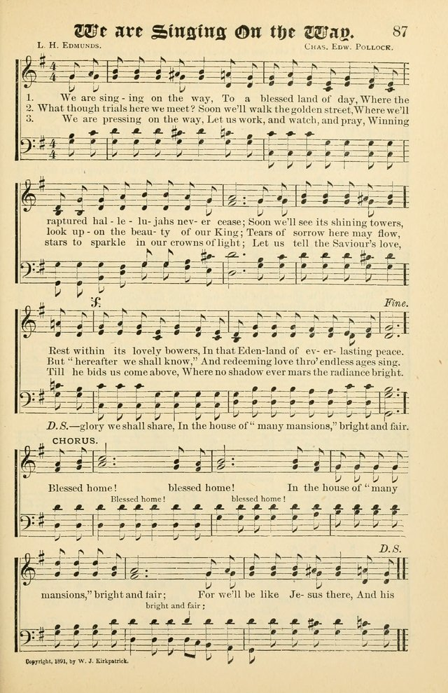 Unfading Treasures: a compilation of sacred songs and hymns, adapted for use by Sunday schools, Epworth Leagues, endeavor societies, pastors, evangelists, choristers, etc. page 87