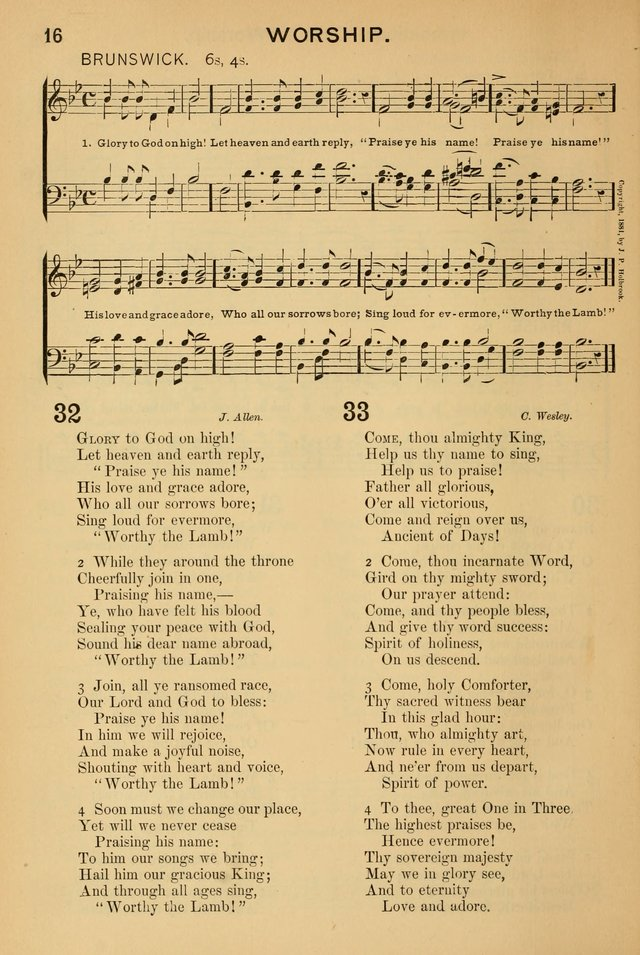 Worship in Song: a selection of hymns and tunes for the Service of the Sanctuary  page 16