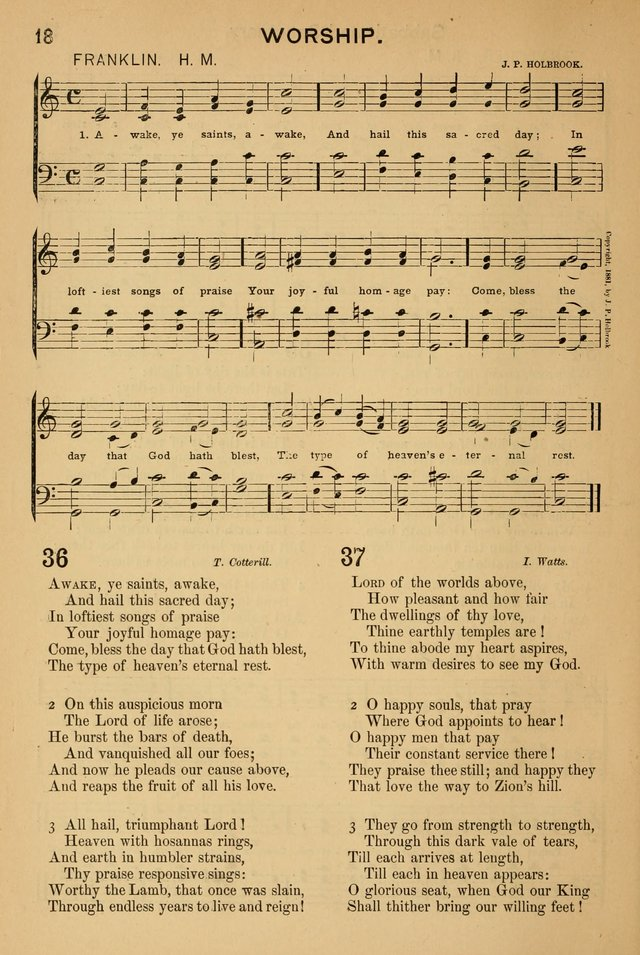Worship in Song: a selection of hymns and tunes for the Service of the Sanctuary  page 18