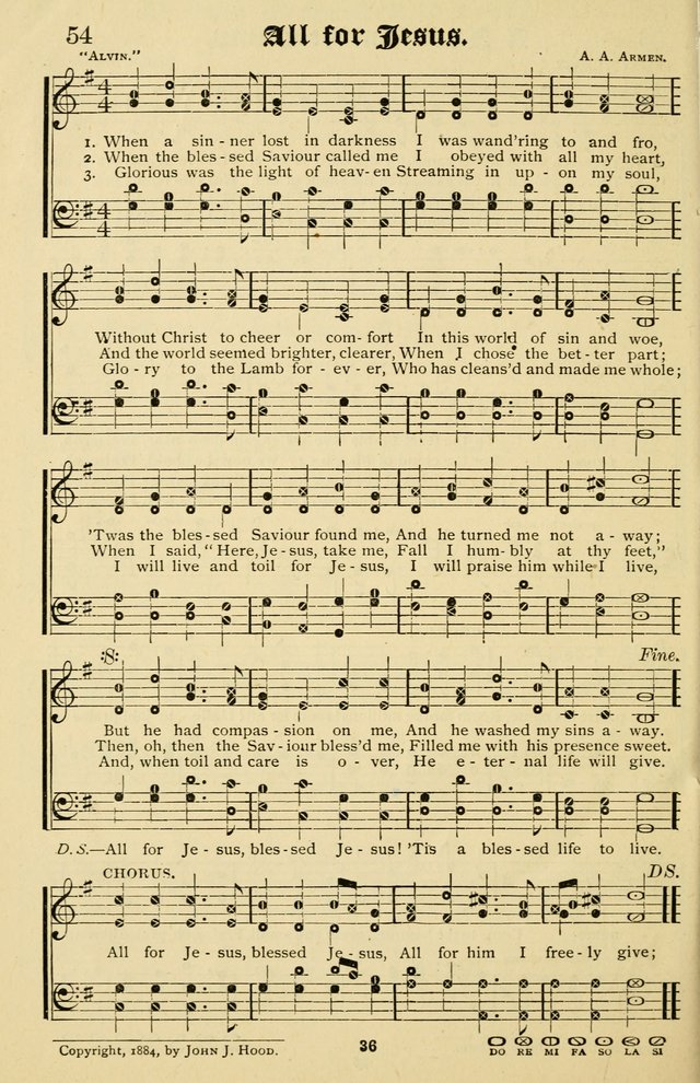 The Welcome Voice: a collection of gospel hymns and songs page 36