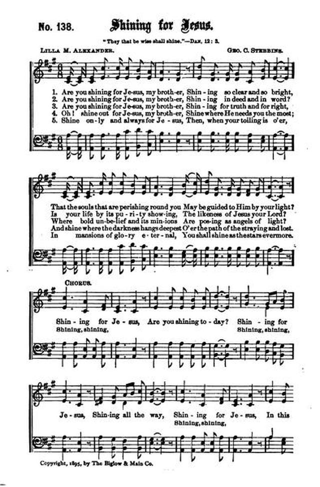 Young People's Songs of Praise 138  Are you shining for Jesus, my