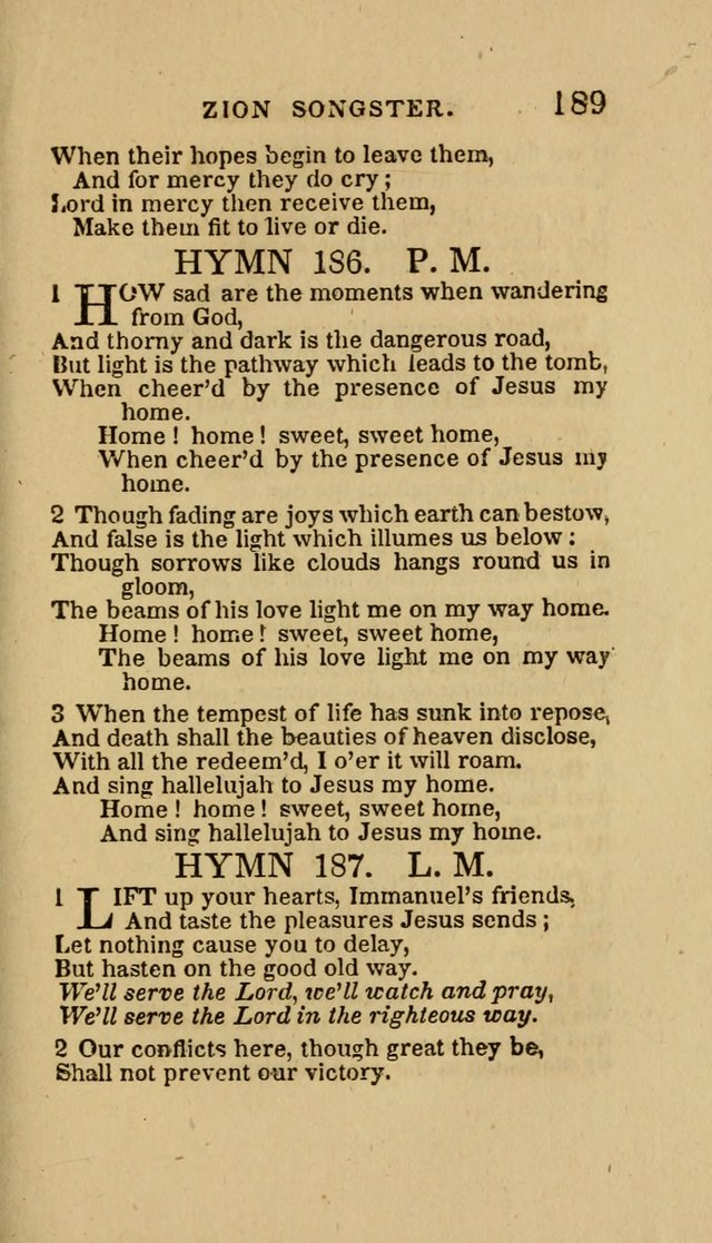 The Zion Songster: a Collection of Hymns and Spiritual Songs, Generally Sung at Camp and Prayer Meetings, and in Revivals or Religion  (95th ed.) page 196